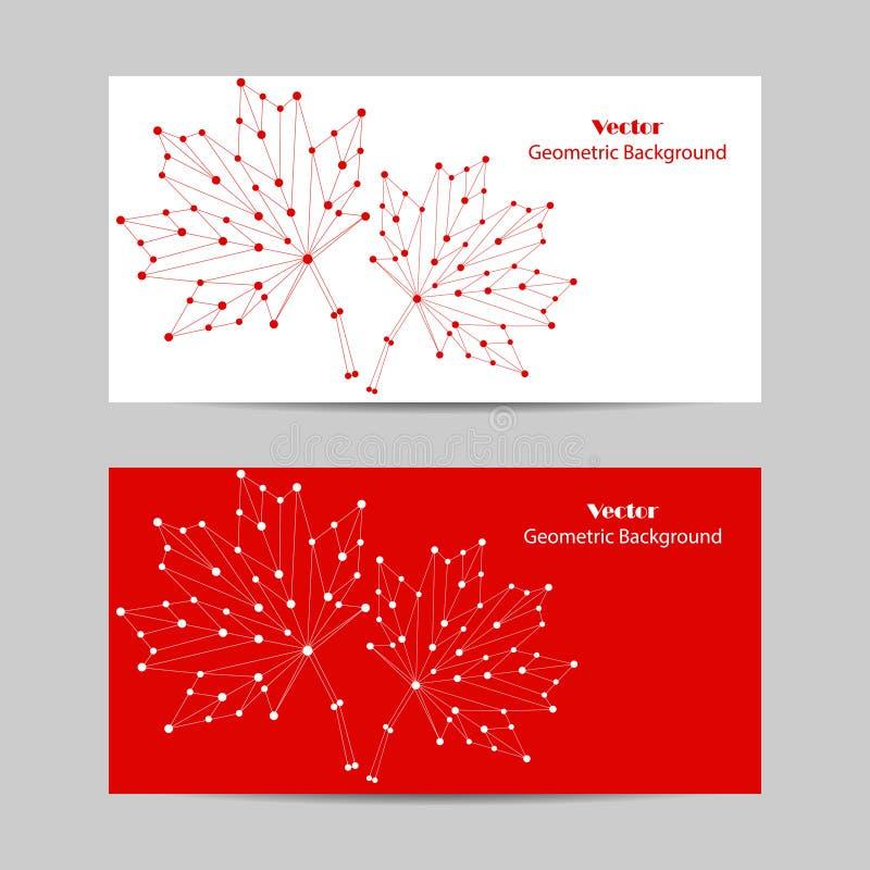 Grupo de bandeiras horizontais Folhas de bordo abstratas do vetor feitas de linhas e de pontos conectados no fundo branco ilustração stock