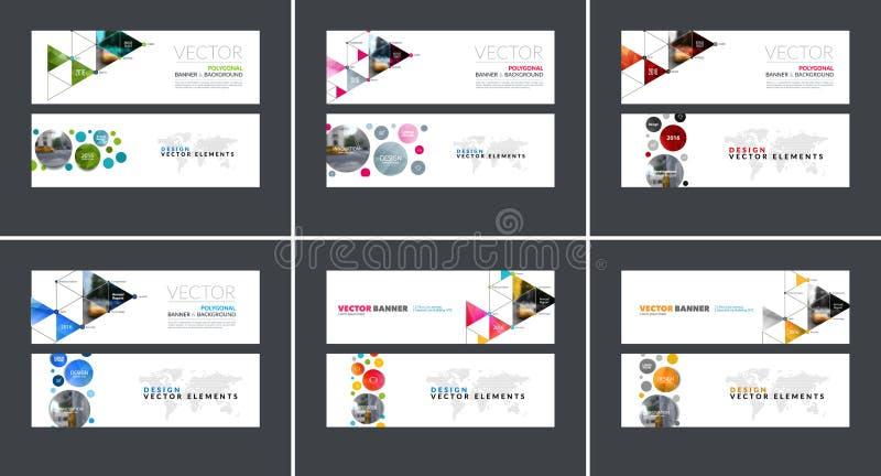 Grupo de bandeiras horizontais modernas do Web site com círculos, tr do vetor ilustração royalty free