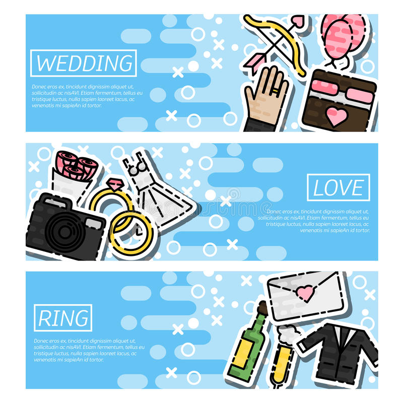 Grupo de bandeiras horizontais sobre o casamento ilustração do vetor