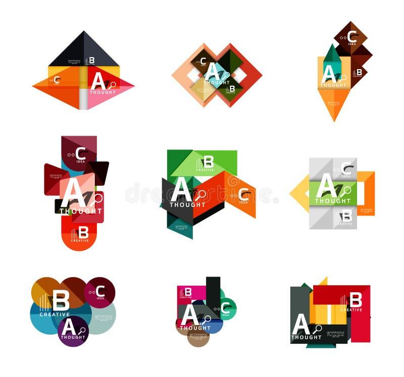 Grupo de bandeiras infographic geométricas, informação que de papel os diagramas de uma opção de b c criados com a cor dão forma ilustração do vetor