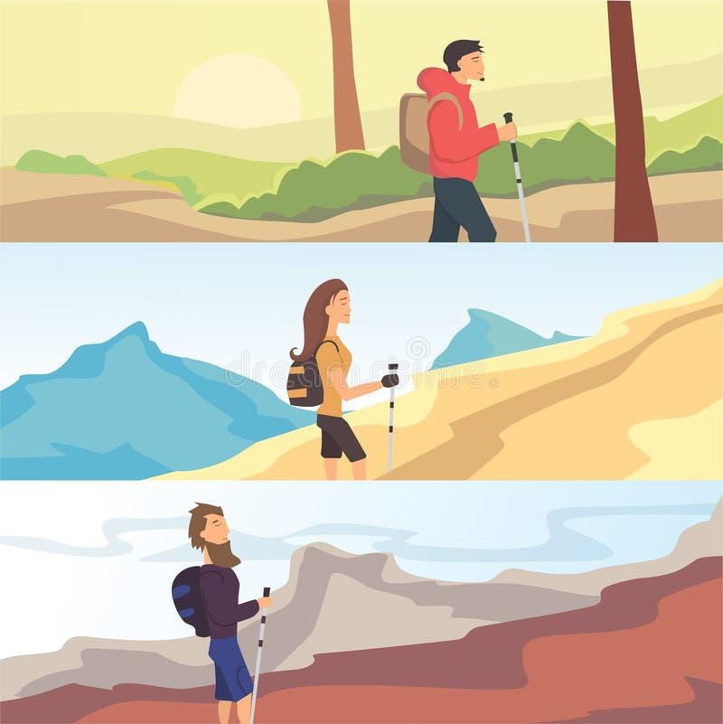 Grupo de bandeiras lisas da Web do vetor no tema que caminha, Trekking, andando Esportes, recreação exterior, aventuras na nature ilustração royalty free