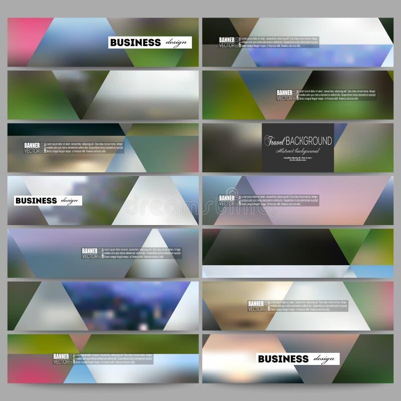 Grupo de bandeiras modernas O fundo colorido abstrato, natureza borrada ajardina, vetor geométrico, estilo triangular ilustração stock
