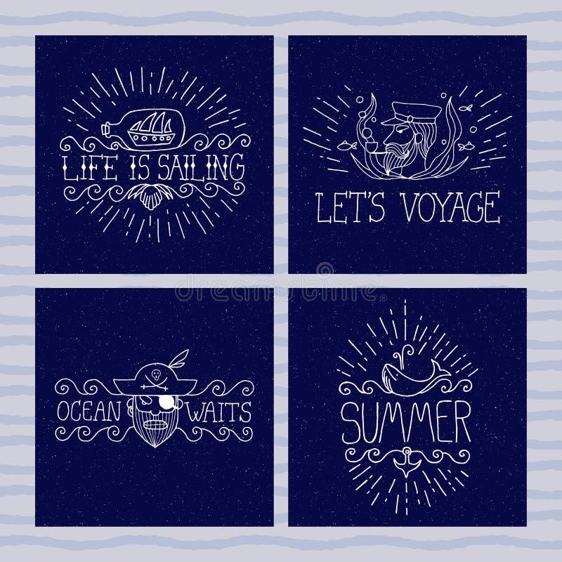 Grupo de bandeiras náuticas Pirata, capitão, baleia, navio em uma garrafa Etiquetas do verão com citações Estilo brutal Arte do e ilustração do vetor