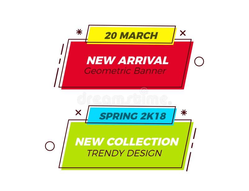 Grupo de bandeiras na moda geométricas com cores vívidas e linha fina formas retros Projeto do vetor do divertimento para vendas  ilustração do vetor