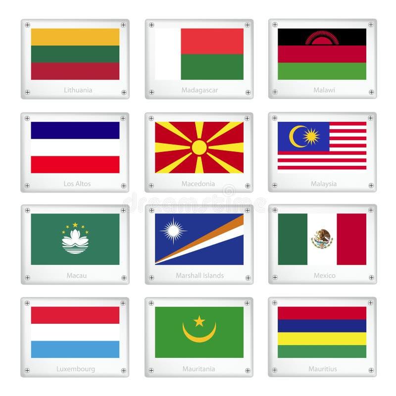 Grupo de bandeiras nacionais em placas da textura do metal ilustração do vetor