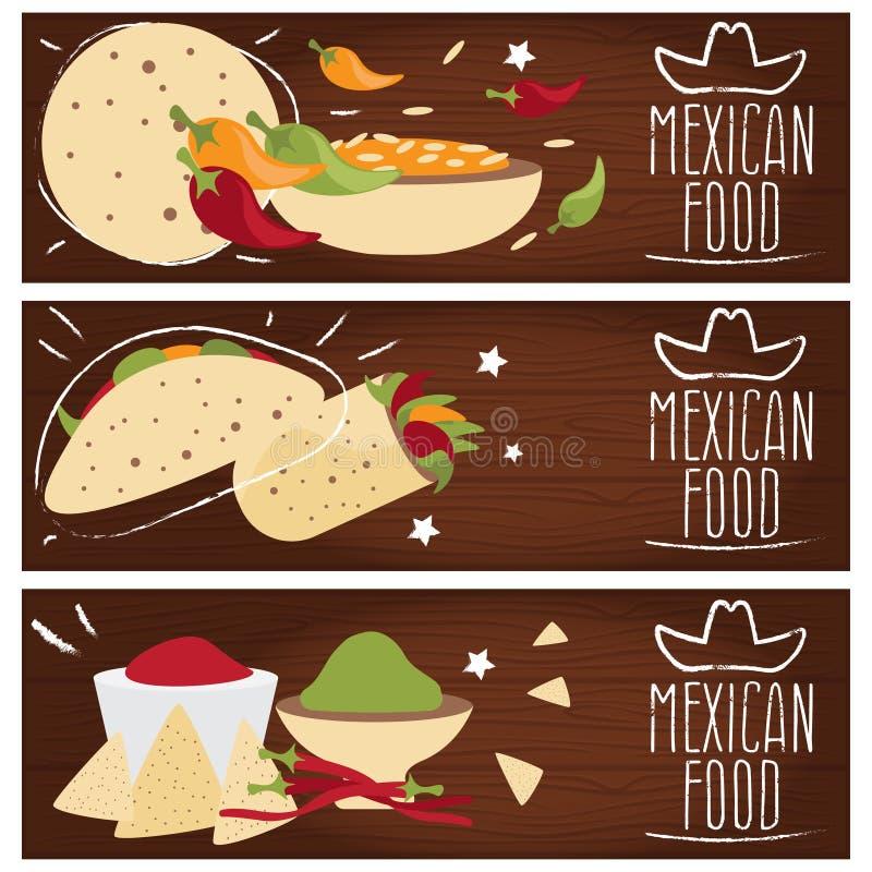 Grupo de bandeiras para gostos diferentes da culinária mexicana do tema ilustração royalty free