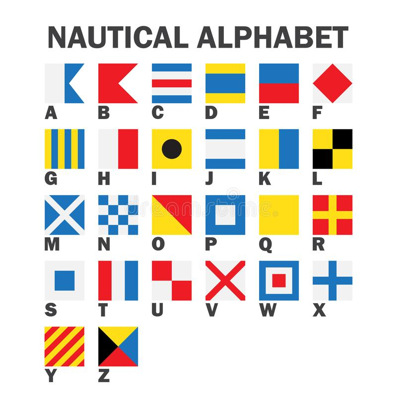 Grupo de bandeiras de sinal marítimas ilustração stock