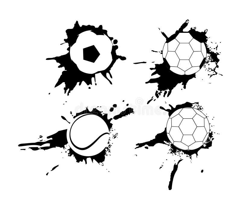 Grupo de bandeiras tiradas mão do grunge com bola de futebol O fundo preto com espirra da tinta da aquarela e borra ilustração stock