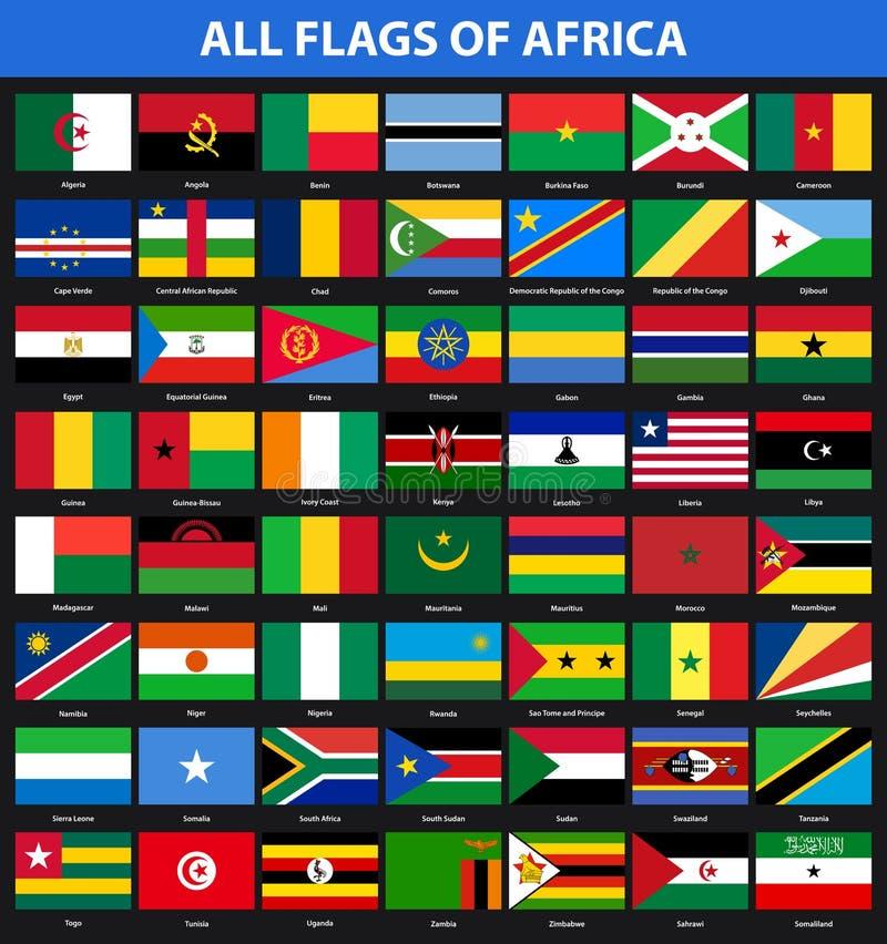 Grupo de bandeiras de todos os países africanos Estilo liso ilustração do vetor