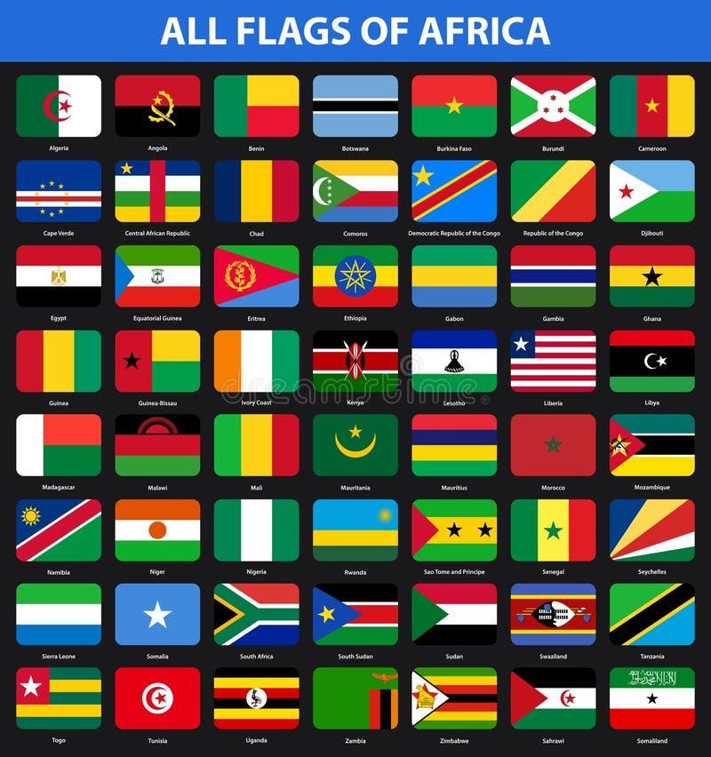 Grupo de bandeiras de todos os países africanos Estilo liso ilustração stock