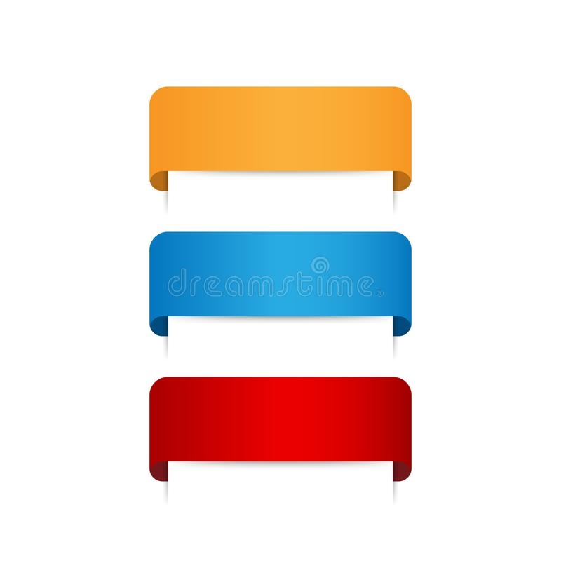 Grupo de bandeiras vazias coloridas da fita Ilustração do vetor ilustração stock