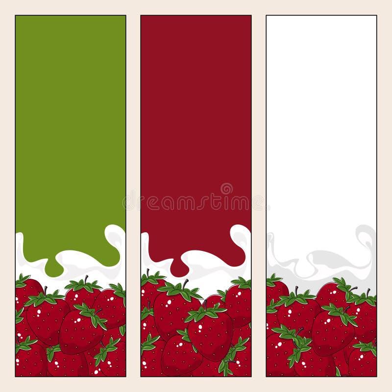 Grupo de bandeiras verticais com Berry Strawberry ilustração do vetor