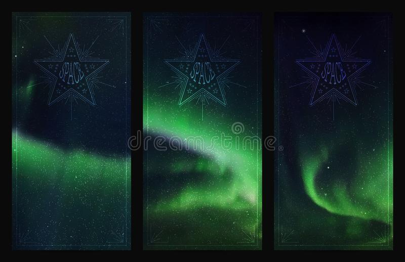 Grupo de bandeiras verticais com o céu e aurora boreal estrelados bonitos ilustração do vetor