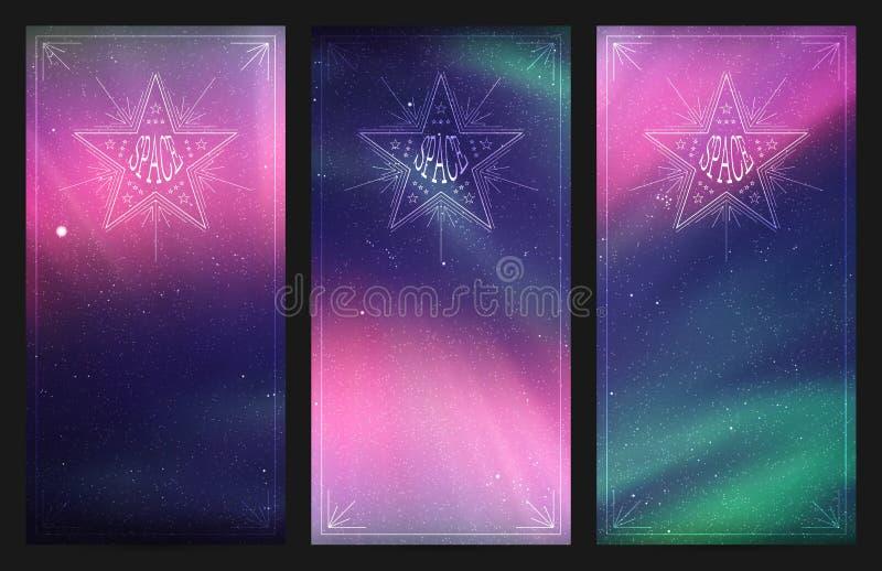 Grupo de bandeiras verticais com o céu e aurora boreal estrelados bonitos ilustração royalty free