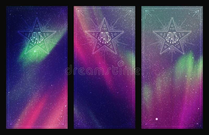 Grupo de bandeiras verticais com o céu e aurora boreal estrelados bonitos ilustração stock