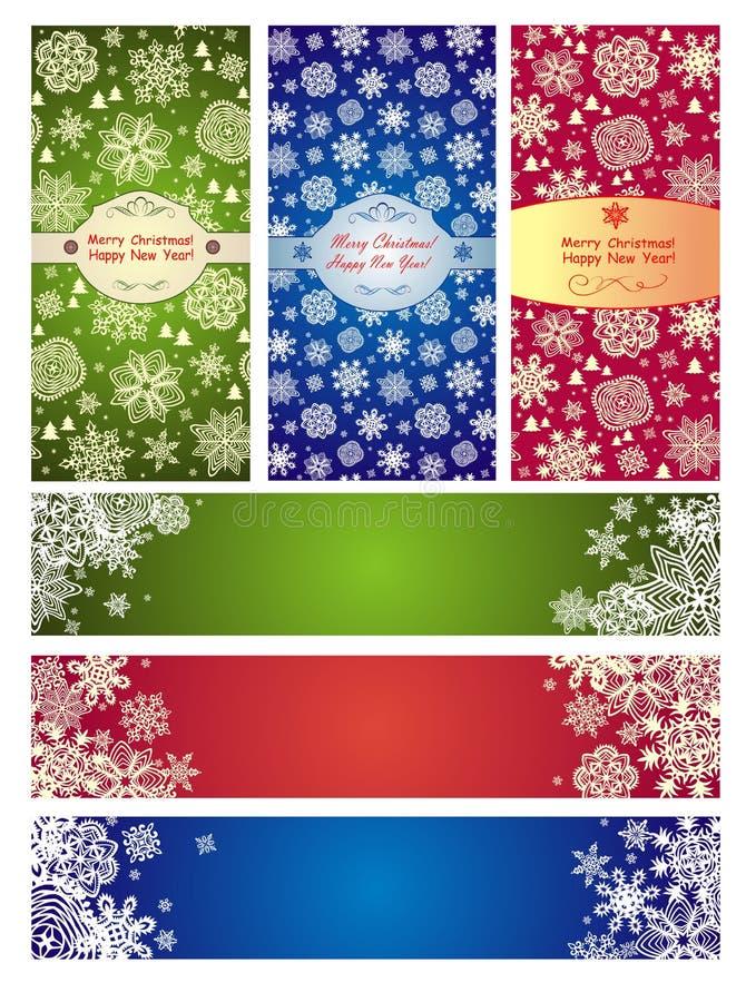 Grupo de bandeiras verticais e horizontais por feriados de inverno ilustração do vetor