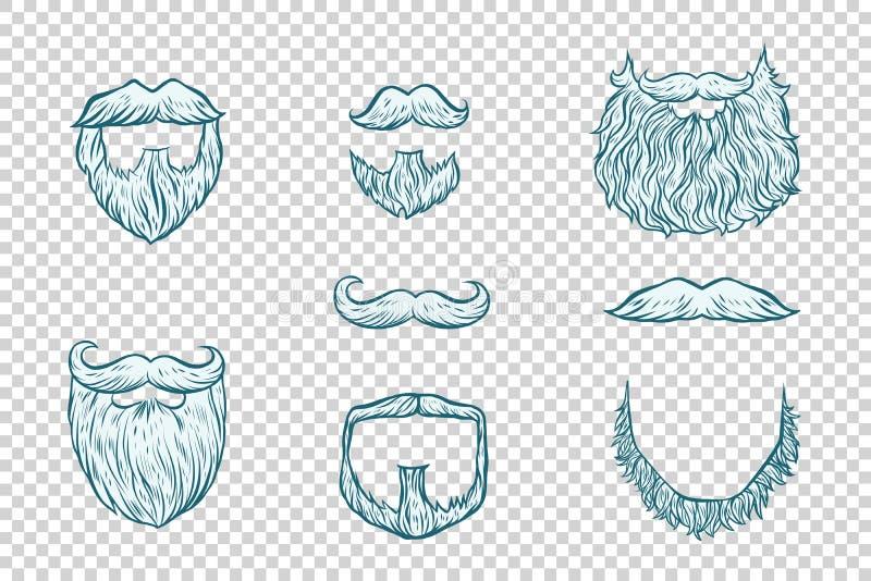 Grupo de barba e de bigode Santa Claus ilustração stock