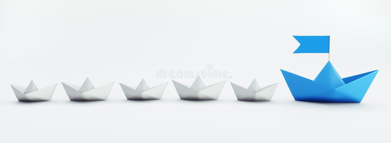 Grupo de barcos de papel blancos y azules - ejemplo 3D stock de ilustración