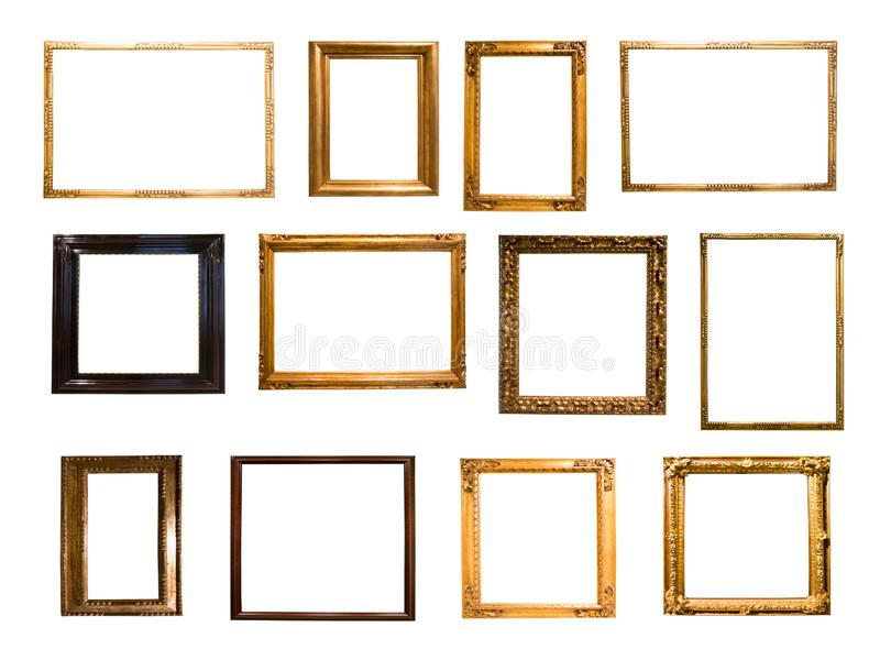 Grupo de bastidor rectangular de oro retro para la fotografía ilustración del vector
