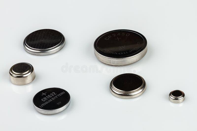 Grupo de baterias da pilha do botão do lítio foto de stock