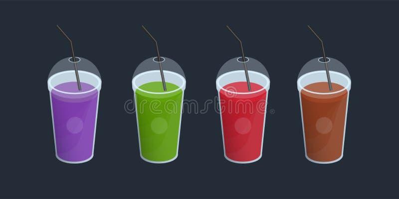 Grupo de batidos diferentes no copo plástico com tampa e palhas Bebidas, cocktail, bebida de alaranjado, roxo, verde, vermelhos ilustração royalty free