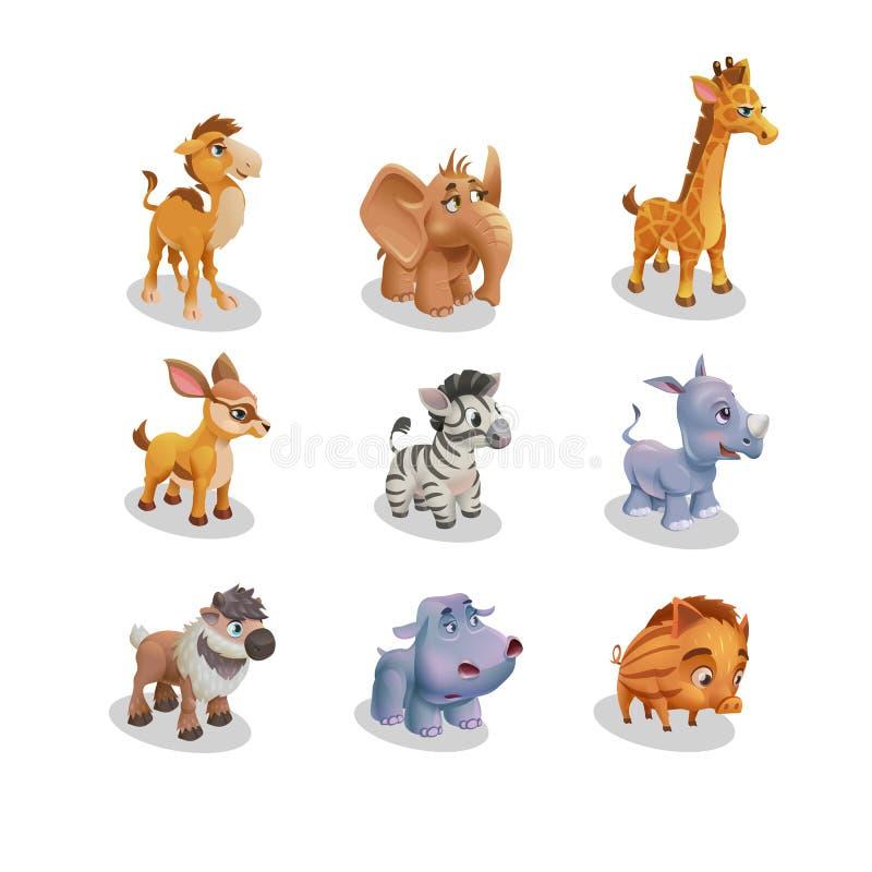 Grupo de bebês bonitos do animal selvagem dos ícones para o jardim zoológico Ilustração do vetor ilustração royalty free