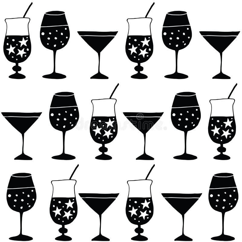 Grupo de bebidas alcoólicas tiradas mão, cocktail Teste padrão para a tela ou o papel de envolvimento Conceito da celebração do a ilustração royalty free