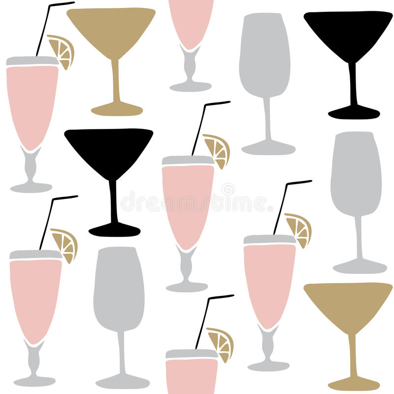 Grupo de bebidas alcoólicas tiradas mão, cocktail Teste padrão sem emenda ilustração royalty free