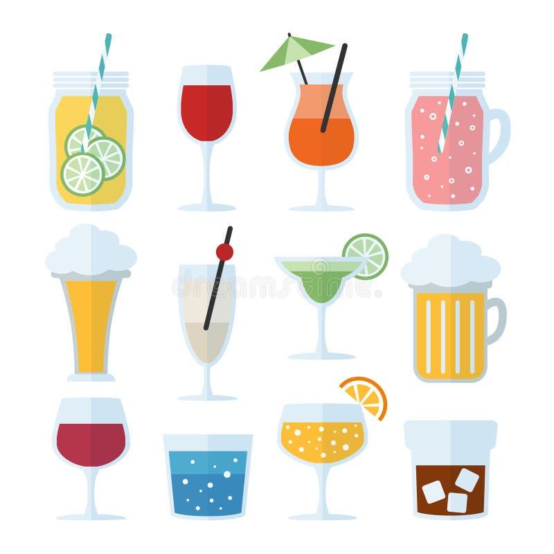 Grupo de bebidas alcoólicas, de vinho, de cerveja e de cocktail ícones do vetor, projeto liso ilustração do vetor