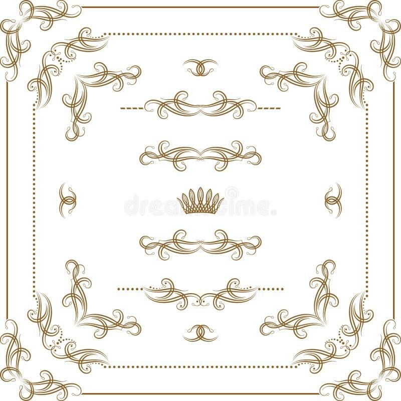 Grupo de beiras decorativas do ouro, quadro do vetor ilustração royalty free