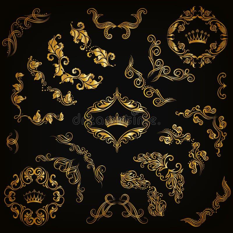 Grupo de beiras decorativas do ouro, quadro do vetor ilustração do vetor