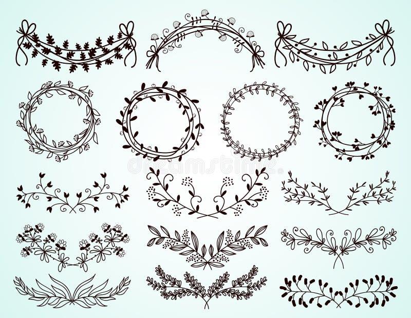 Grupo de beiras florais desenhados à mão e de grinaldas ilustração stock