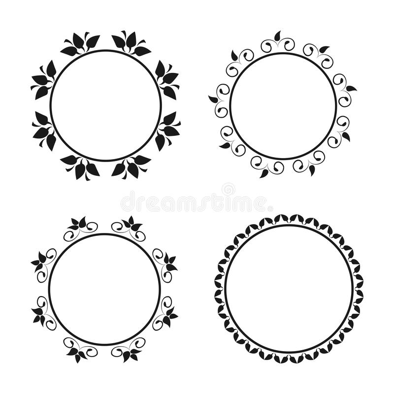 Grupo de beiras ornamentado redondas Quadros com ornamento florais ilustração royalty free