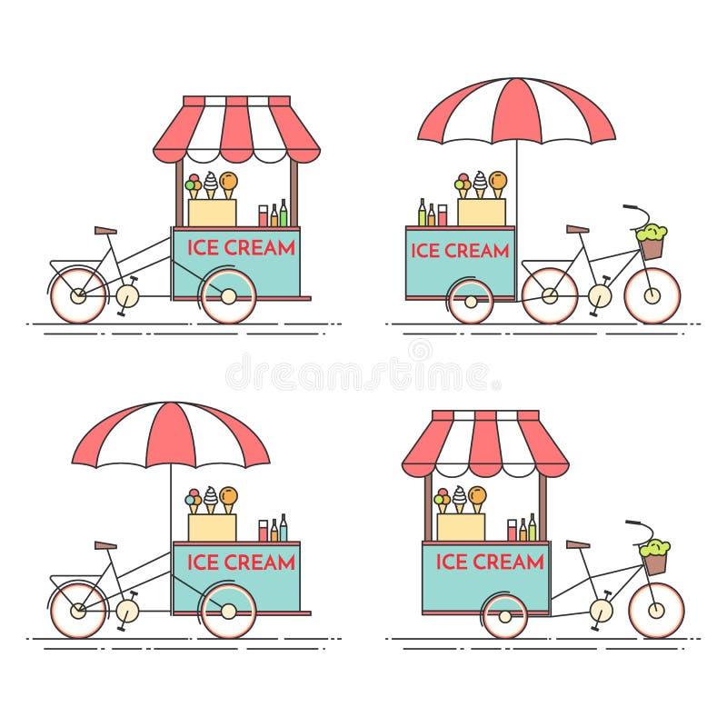 Grupo de bicicletas do creme do ce Carro nas rodas Quiosque do alimento Ilustração do vetor Linha arte lisa ilustração do vetor