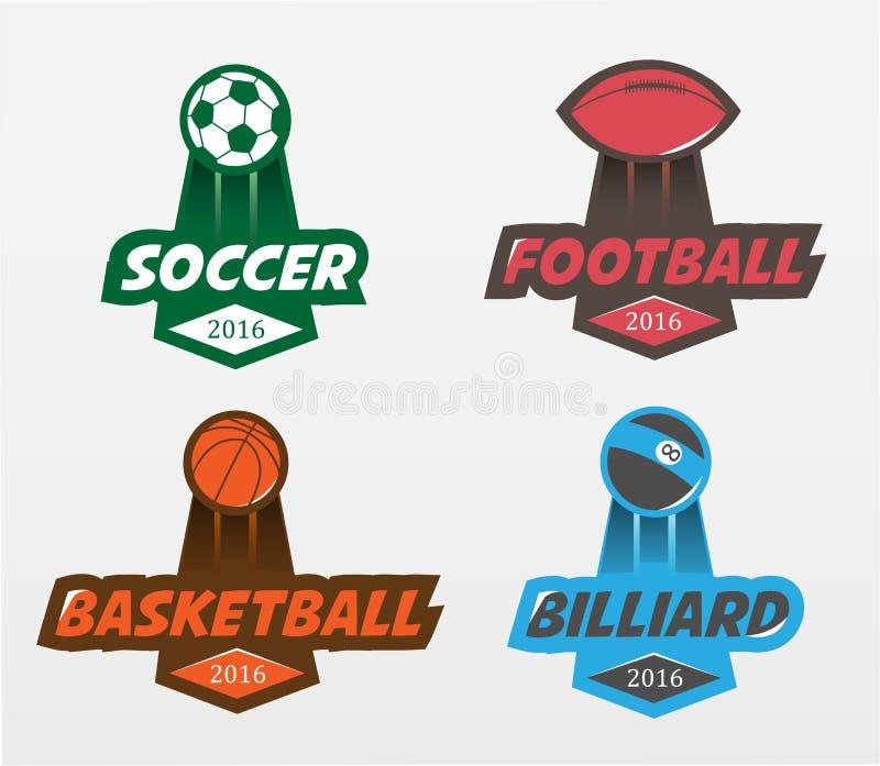 Grupo de bilhar do basquetebol do futebol do futebol ilustração royalty free