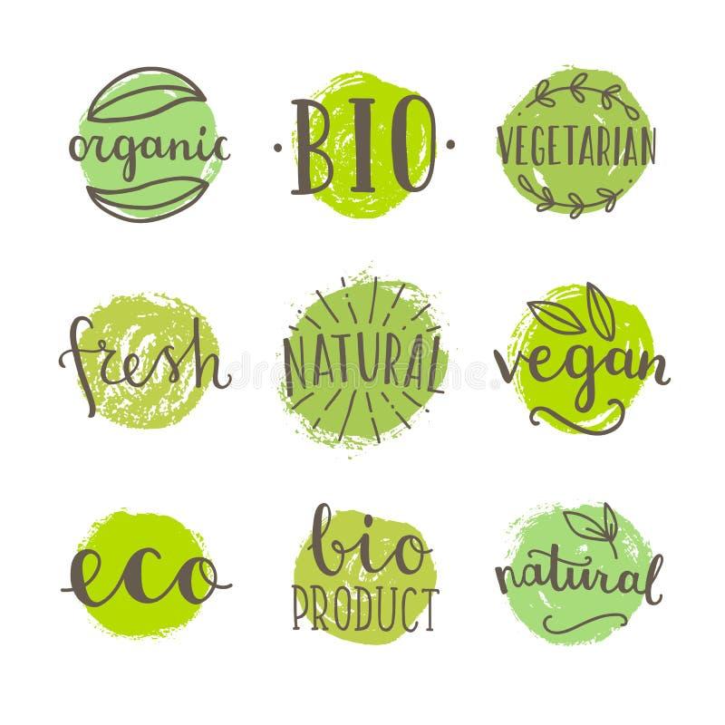 Grupo de bio, crachás do alimento do vegetariano ilustração do vetor