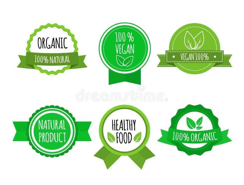Grupo de bio crachás saudáveis do alimento no fundo branco Vegetariano, logotipos orgânicos Ilustração do vetor ilustração royalty free