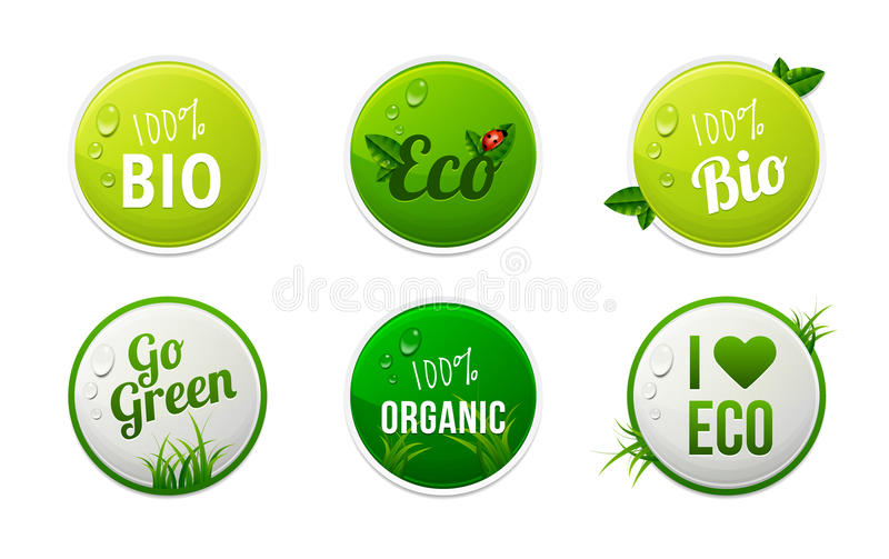 Grupo de bio, eco, elementos orgânicos da etiqueta ilustração stock