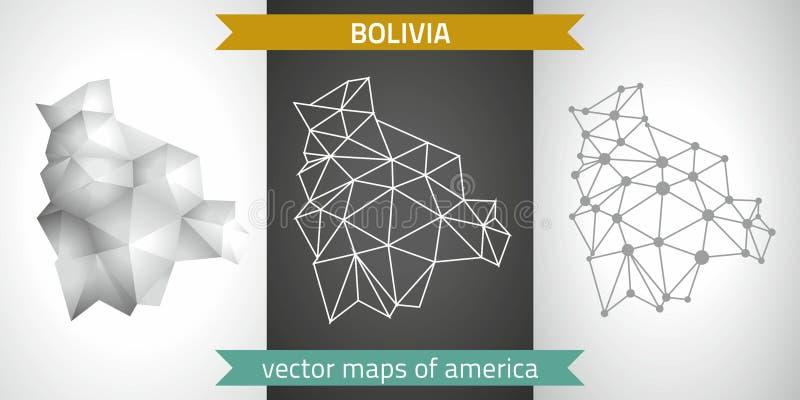 Grupo de Bolívia de cinza e de mapas poligonais do mosaico 3d da prata A perspectiva gráfica da sombra do esboço da geometria do  ilustração stock