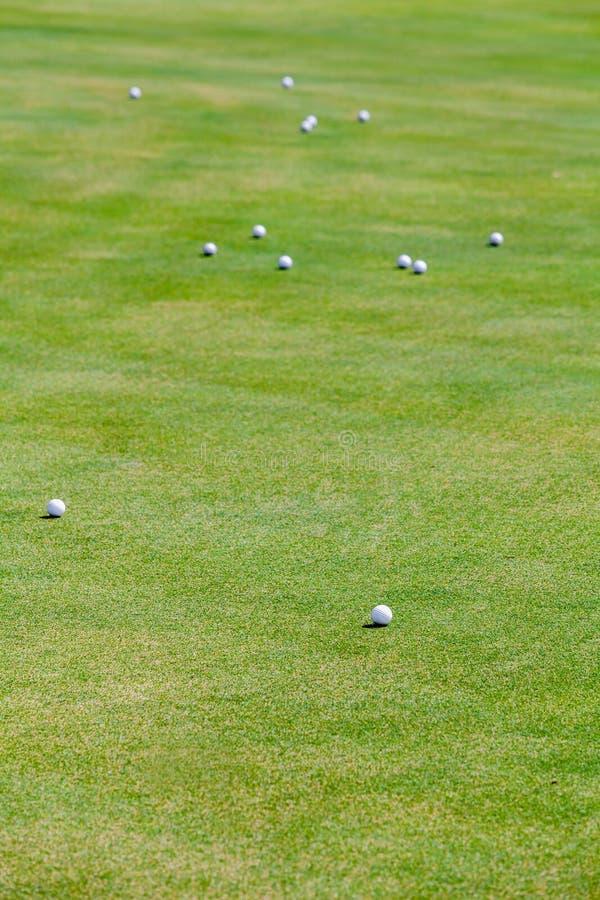 Grupo de bola de golfe na grama fotos de stock
