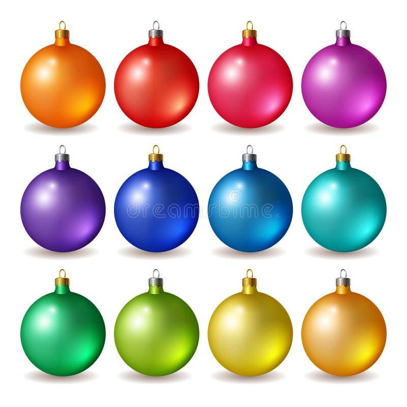 Grupo de bolas brilhantes do Natal ilustração stock