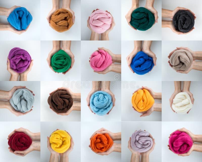 Grupo de bolas coloridas de lãs do merino nas mãos, colagem foto de stock royalty free
