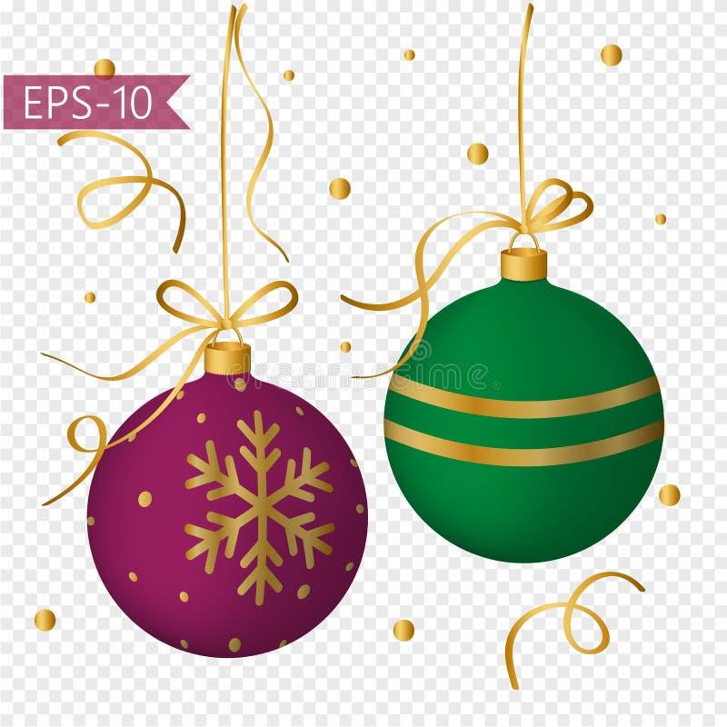 Grupo de bolas coloridas do Natal com decoração do ouro Ano novo celebration ilustração do vetor