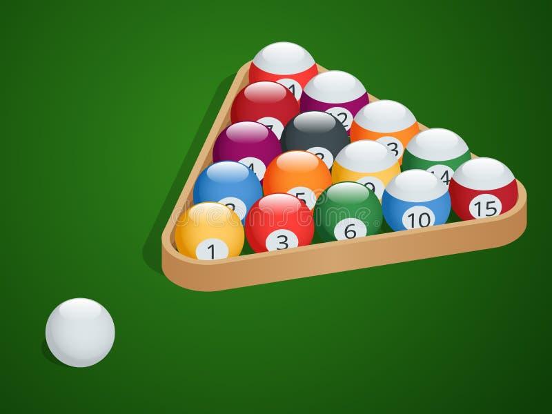 Grupo de bolas de bilhar Termine bolas de bilhar Bolas de bilhar da associação em uma cremalheira de madeira Posição começar de u ilustração do vetor