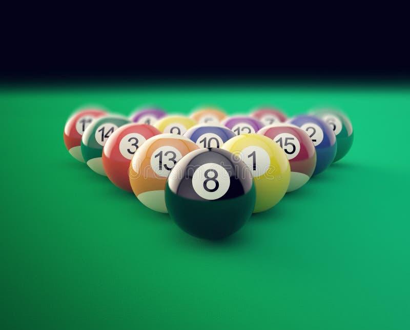 Grupo de bolas de billar brillantes con los bordes suaves ilustración 3D libre illustration