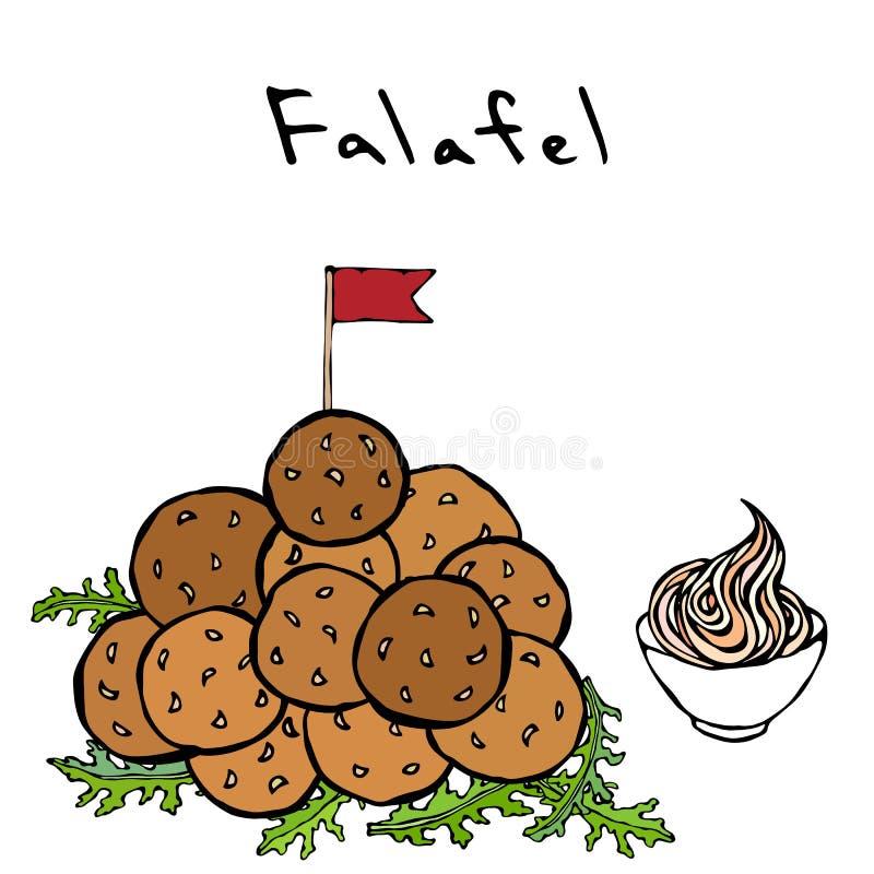 Grupo de bolas do Falafel com bandeira, rúcula Herb Leaves e molho Culinária do Oriente Médio Israel Vegetarian Healthy Fast Food ilustração do vetor