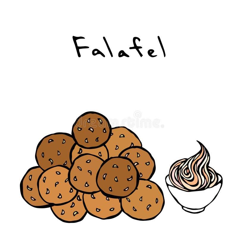 Grupo de bolas e de molho do Falafel Culinária do Oriente Médio Refeição tradicional árabe Israel Vegetarian Healthy Fast Food Es ilustração do vetor