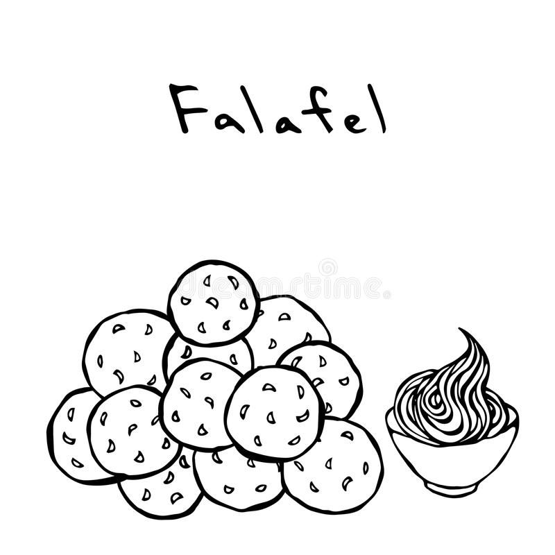 Grupo de bolas e de molho do Falafel Culinária do Oriente Médio Refeição tradicional árabe Israel Vegetarian Healthy Fast Food Es ilustração stock