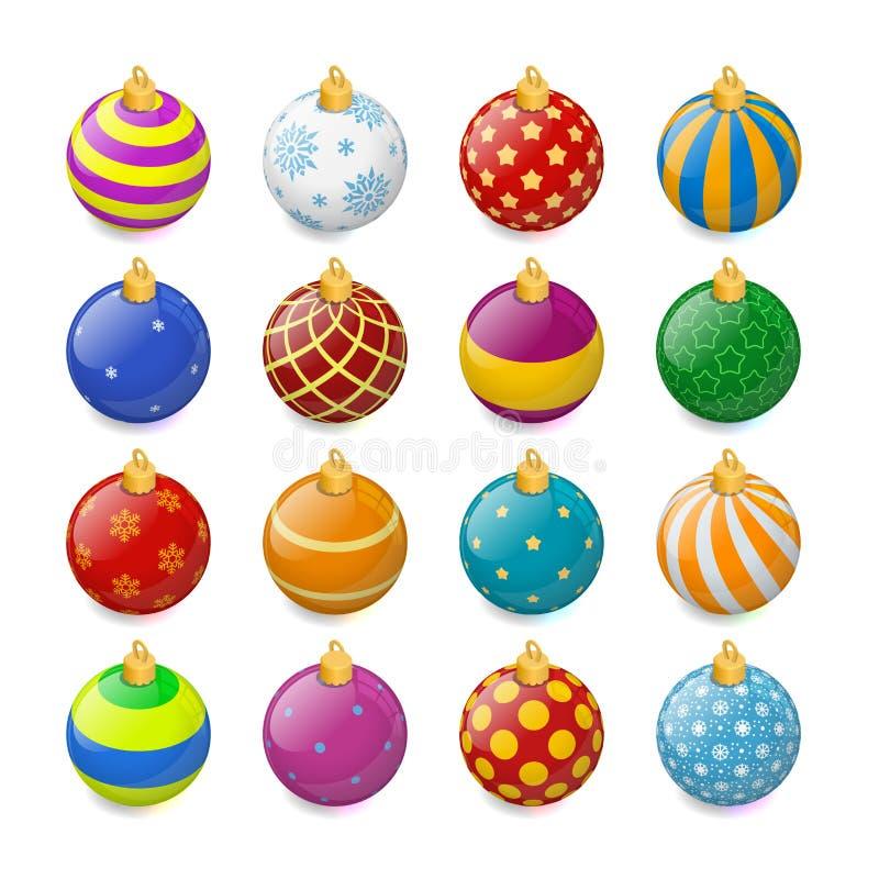 Grupo de bolas isométricas do Natal da cor em um fundo transparente Decorações do Natal da meia Elemento da meia novo ilustração royalty free