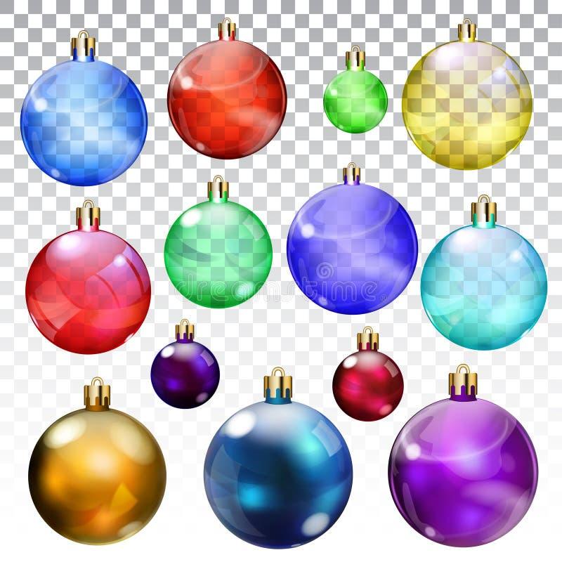 Grupo de bolas transparentes e opacas do Natal ilustração royalty free